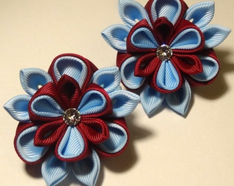 2 ponytail holders in the technique of kanzashi