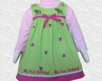 Lime green First Birthday personalized dress
