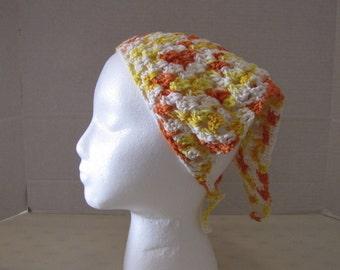 Creamsicle Crochet Kerchief Headband Bandana Head Scarf