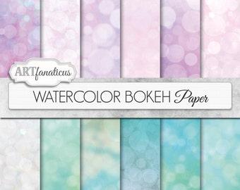 """Bokeh digital papers """"WATERCOLOR BOKEH"""" pink bokeh, green bokeh, watercolors on digital paper for photographers, scrapbooking, invitations"""
