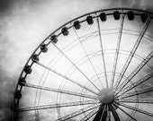 Ferris Wheel on Seattle Waterfront. Travel. Black and White Photography. Monochrome Print by OneFrameStories. - OneFrameStories