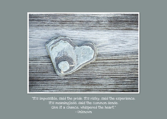 """Inspirational Greeting Card. Encouragement, Heart Rock, FLAT (not folded), 5""""x7"""" card. Photography by OneFrameStories."""