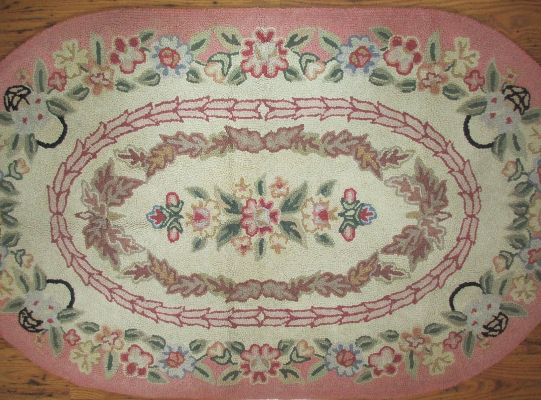 Vintage Oval Hooked Rug Pink Floral Wool 32 X