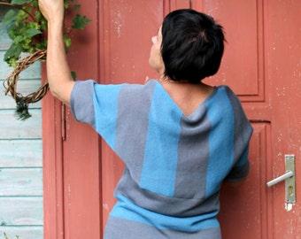 Stripe Knitted Linen Kimono Type Top