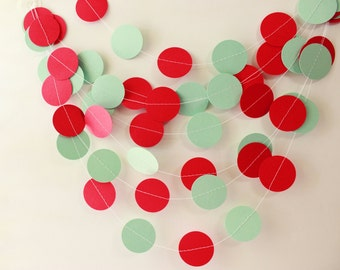 Wedding Garland, Mint Green & Red Circle Paper Garland 10 ft - Bridal Shower, Baby Shower, Party Decorations, Home Decor, Birthday, Holidays