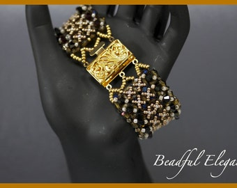Elegant Wide Band Black Peach Gold Orchid Swarofski Crystal Woven Chunky Beaded Bracelet Wedding Accessory Accent Silver Clasp Royalty