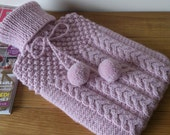 Pink hand knitted hot water bottle cover complete with bottle - cable and blackberry stitch design with pompoms - Ready to Ship - DottyKnits