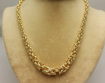Byzantine Gilt Silver Graduated Rope Necklace with Extender Sterling Silver and Gold