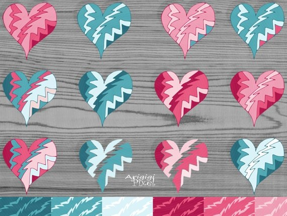 Scrapbooking Hearts Clipart, Papers and Borders Cartoon Style - Valentine Clipart - Photoshop clip art digital card supply