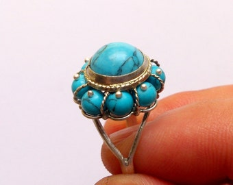 Sterling Silver Turquoise Ring, Gemstone Ring, Turquoise Jewelry, Gift for Women, Best Gift Idea, Armenian Jewelry, Cocktail Ring