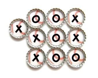 Tic Tac Toe - Bottle Cap Magnets - Baseballs - Set of 10 - Color Options Available