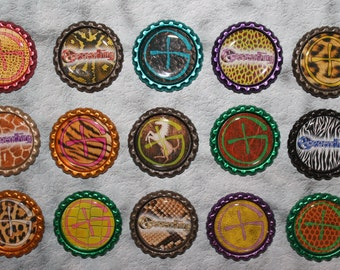 Geocache Coin Bottle Caps For Swag Trade Items - 15 Piece Taking Skins Set