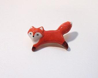 Run! Run!  Red Fox Ceramic Brooch
