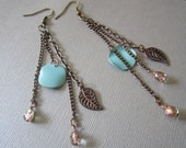 Copper chain and turquoise lentil earrings