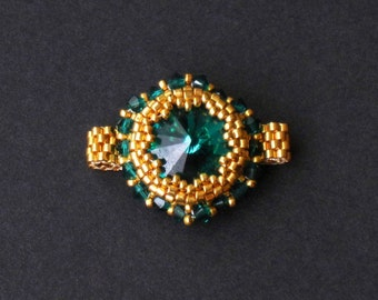Emerald Swarovski Crystal and Gold Beaded Ring