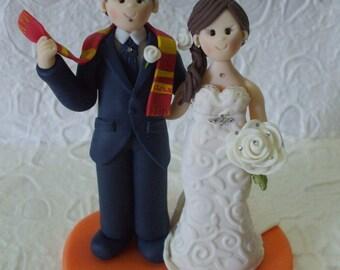 custom bride and fan soccer  groom wedding cake topper
