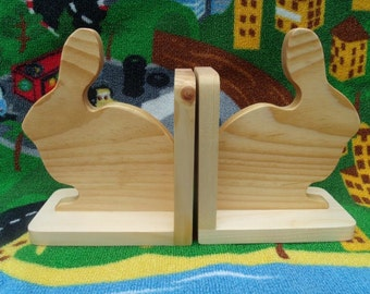 Handmade, eco-friendly wooden bookends set (bunnies) kids room, nursery decor, child's bookends