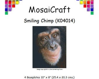 MosaiCraft Pixel Craft Mosaic Art Kit 'Smiling Chimp' (Like Mini Mosaic and Paint by Numbers)