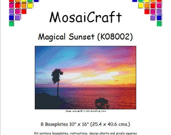 MosaiCraft Pixel Craft Mosaic Art Kit 'Magical Sunset' (Like Mini Mosaic and Paint by Numbers)