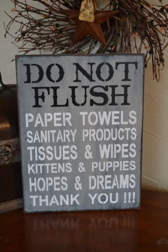 Do Not Flush Septic System Rules Sign By Creativetouchwood