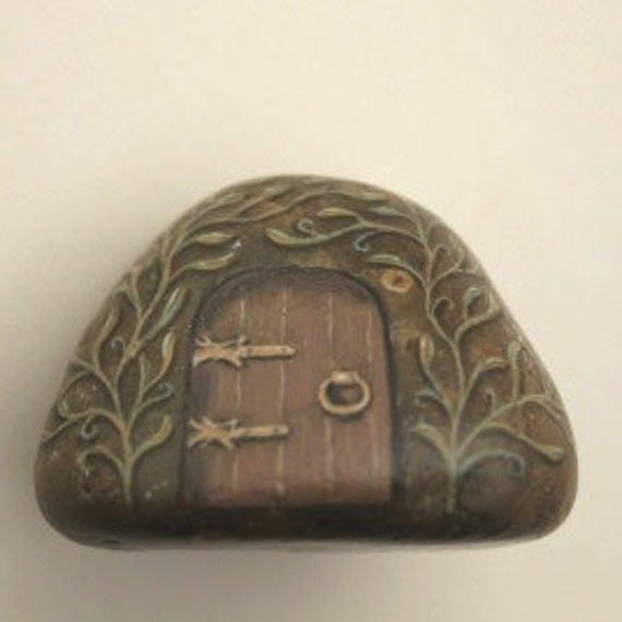 fairy house rock painting ooak paperweight gift by sylverwoode fairy house rock Real Fairy Houses