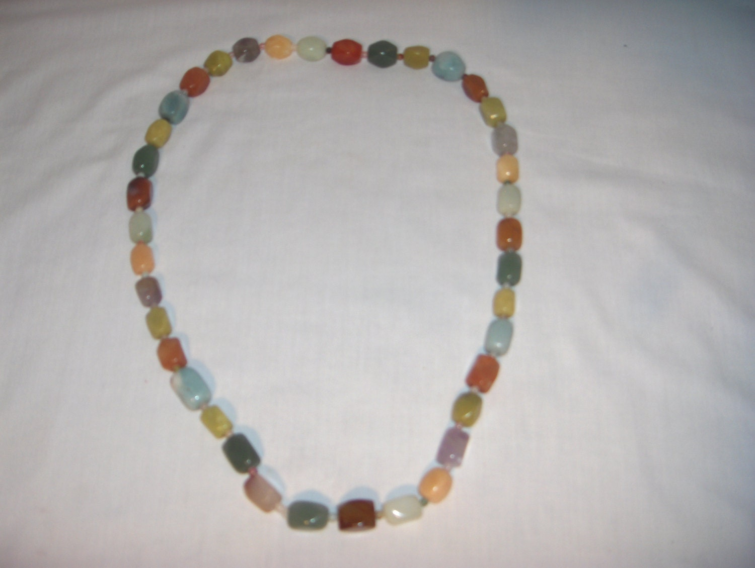 Multi-Colored POLISHED STONE NECKLACE 30 inches Vintage