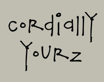 Bouncy Hand Printed Cordially Yourz Font
