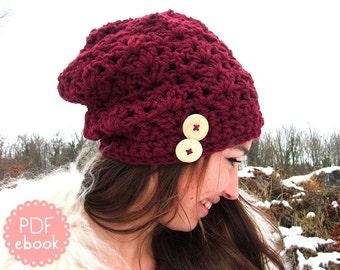 Instant Download - Crochet Pattern - Beanie RoseRed - PDF ebook No. 58