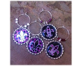 Purple n' Black Fleur de Lis Wine Glass Charms/Magnets