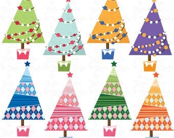 """Christmas ClipArt """"CHRISTMAS TREE PATTERN""""clip art,Colorful Christmas Tree,Christmas Decoration,perfect for Scrapbook,Cards,InvitationsCm014"""