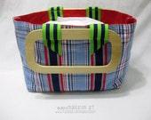 Preppy Plaid Placemat Hand Bag, Striped Ribbon Detail, OOAK
