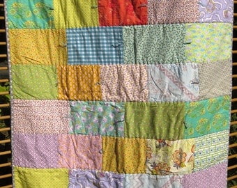 Bright, Floral Baby Quilt, Baby Shower Gift, OOAK