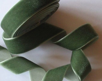 5 yards 3/4 inches Velvet Ribbon in Oliver Green RY34-93