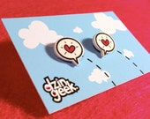 hearts - shrink plastic post earrings (surgical steel or plastic posts)