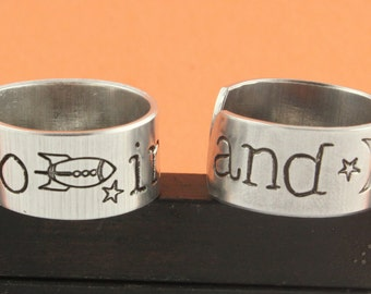 SALE - To Infinity and Beyond Ring Set - Best Friends Ring Combo - Friendship - BFF - Adjustable Aluminum Rings - Handstamped Rings