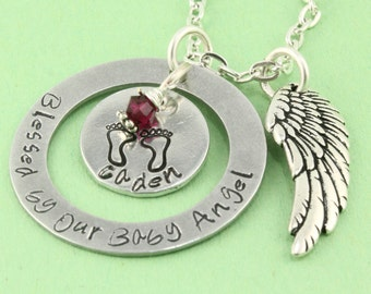 SALE - Blessed By Our Baby Angel - Personalized Remembrance Necklace - Memorial Jewelry - Baby Footprints Necklace - Angel Baby