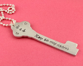 SALE - Valentine's Day Gift - Key To My Heart Hand Stamped Heart Necklace - Handstamped Couple's Gift - Gift For Mother's Day