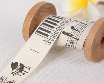 1 yard Cotton Ribbon Sewing Tape Label Print Ribbon Label-Melody Deco Ribbon Label