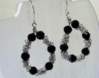 Black and Silver Hoop Earrings