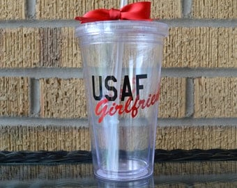 USAF - U.S. Airforce Girlfriend Tumbler Cup - Personalized tumbler - add name to back for free
