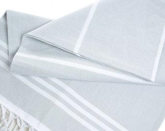 Arda Hammam Peshtemal, Cotton Turkish Bath Towel Light Grey with White Stripes, Pestemal