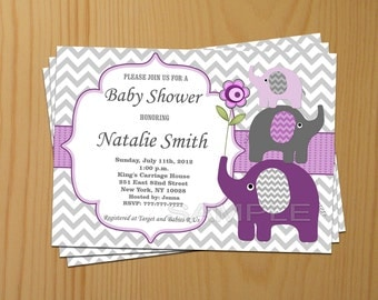 Baby Shower Invitation Elephant Baby Shower Invitation Girl Baby Shower Invitation Baby Shower Invites Purple (50p) - Free Thank You Card