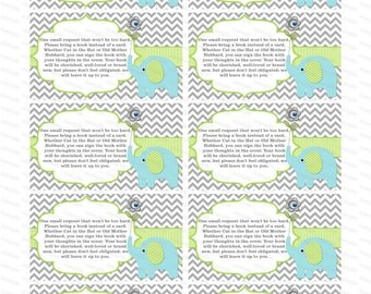 Insert elephant baby shower invitation bring a book instead of a card elephant baby shower invitation insert baby shower invitation (90bt)