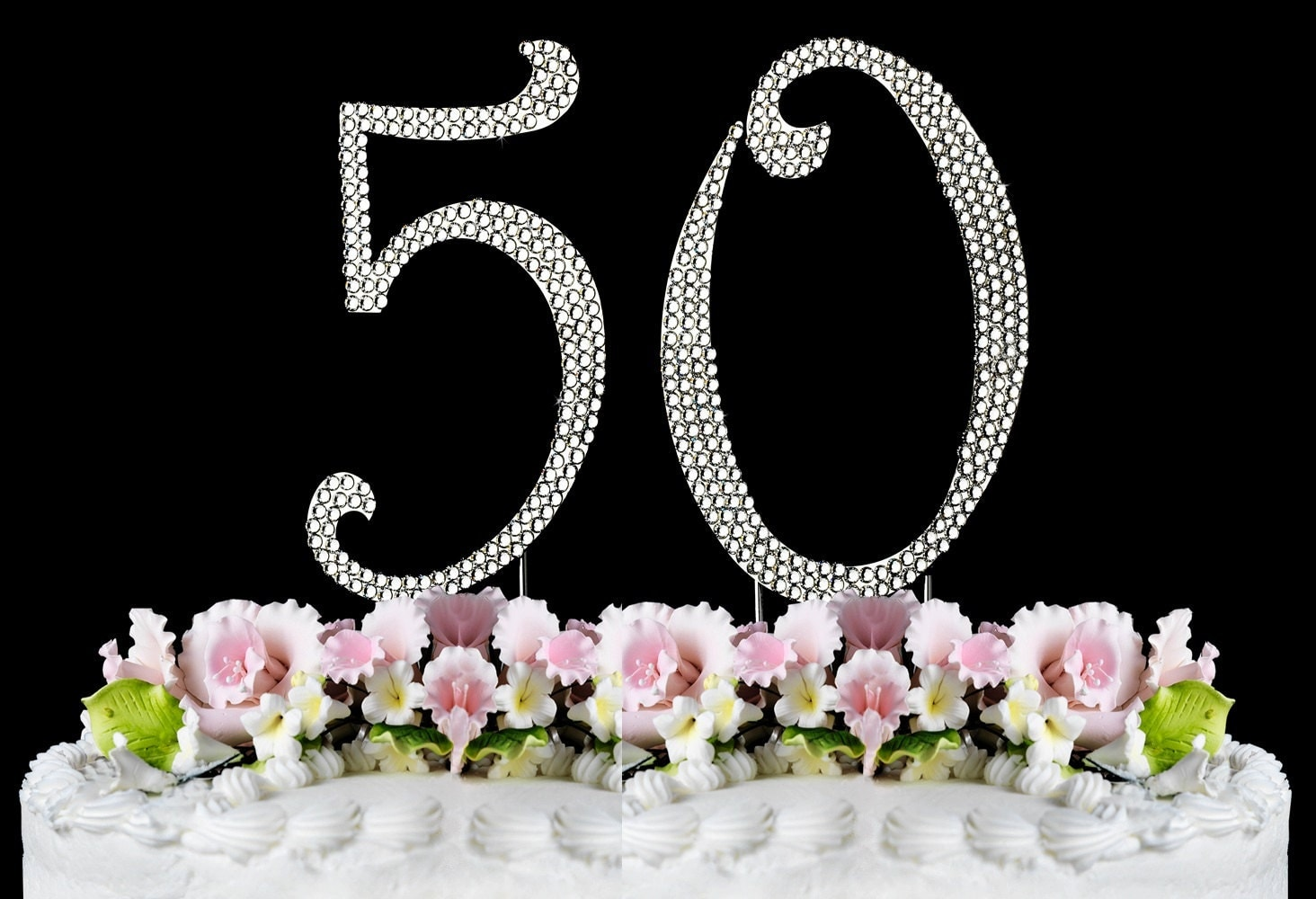 New Large Rhinestone NUMBER 50 Cake Topper 50th Birthday