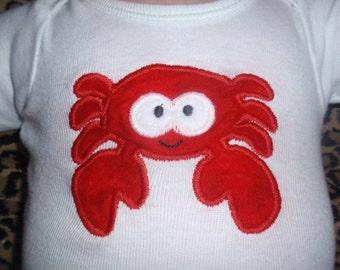 Red Crab body suit or Toddler shirt. Also available on a bib or burp cloth.