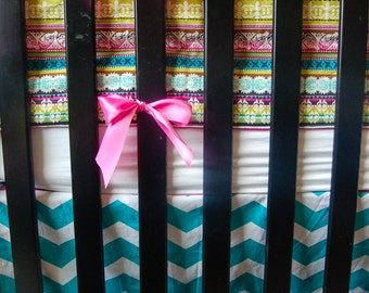 CUSTOM CRIB BEDDING Baby Girl Bedding: Pink, Teal, Chevron