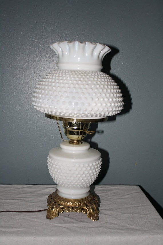 Vintage White Milk Glass Hobnail Lamp With By Nikkisfunfinds