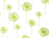 Modern Floral Fabric- Premier Prints Dandelion- Chartreuse Green and White Dandelion Flowers- Fabric by the Yard- Lime Home Decor Fabric