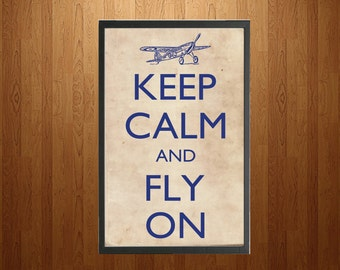 Vintage Keep Calm and Fly On Print - Vertical - digital download
