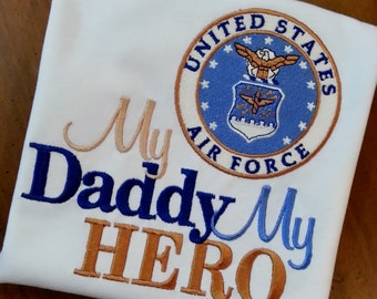 My Hero is in the Army I call him Daddy /her Mommy Shirt Onesie Air Force, Navy, Coast Guard, Marines National Reserves Any Military Branch